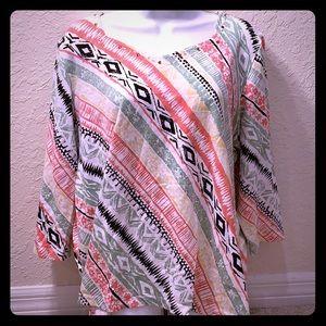 🔴5/$15 Alfred Dunner Safari Print Shirt XL